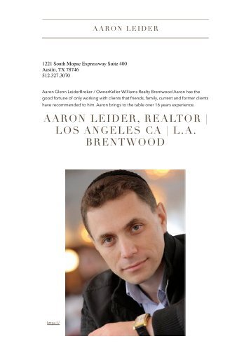 Aaron Leider Realtor at KW Brentwood