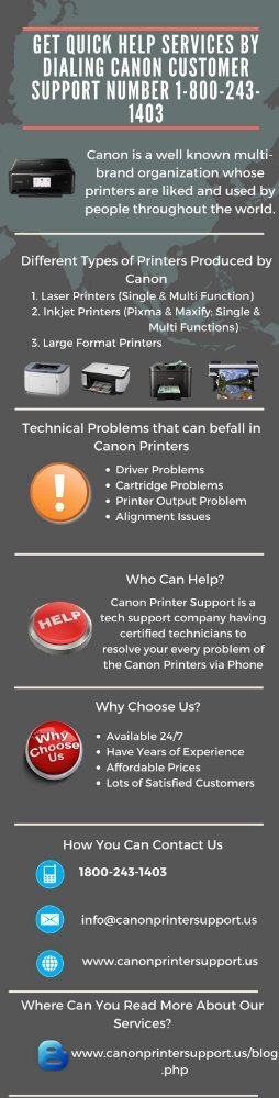 GET QUICK HELP SERVICES BY DIALING CANON CUSTOMER SUPPORT NUMBER 1-800-243-1403
