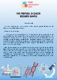 PhD in Cancer Research Sample