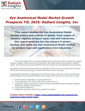 Eye Anatomical Model Market Size, Industry Trends, Growth Prospects Till, 2025  Radiant Insights, Inc