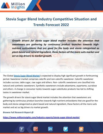 Stevia Sugar Blend Industry Competitive Situation and Trends Forecast 2022
