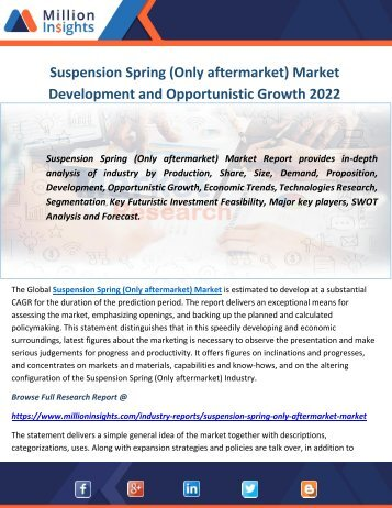 Suspension Spring (Only aftermarket) Market Development and Opportunistic Growth 2022