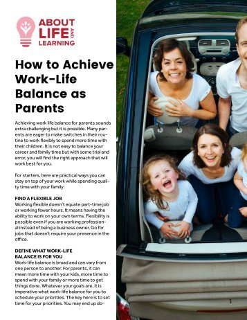 How to Achieve Work-Life Balance as Parents