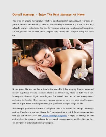 Outcall Massage - Enjoy The Best Massage At Home