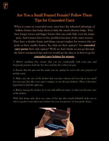 Are You a Small Framed Female Follow These Tips for Concealed Carry