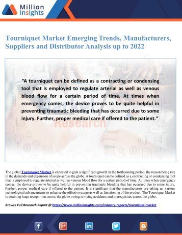 Tourniquet Market Emerging Trends, Manufacturers, Suppliers and Distributor Analysis up to 2022