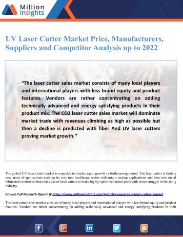 UV Laser Cutter Market Price, Manufacturers, Suppliers and Competitor Analysis up to 2022