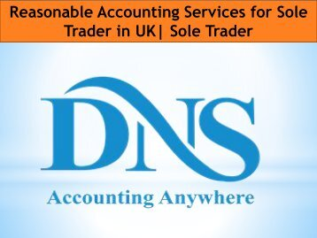 Reasonable Accounting Services for Sole Trader in UK Sole Trader