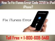 1-800-608-5461 How To Fix iTunes Error Code 3259 in iPad/ iPhone?