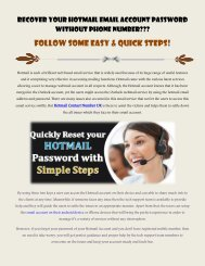 Recover your Hotmail Email Account Password without Phone Number
