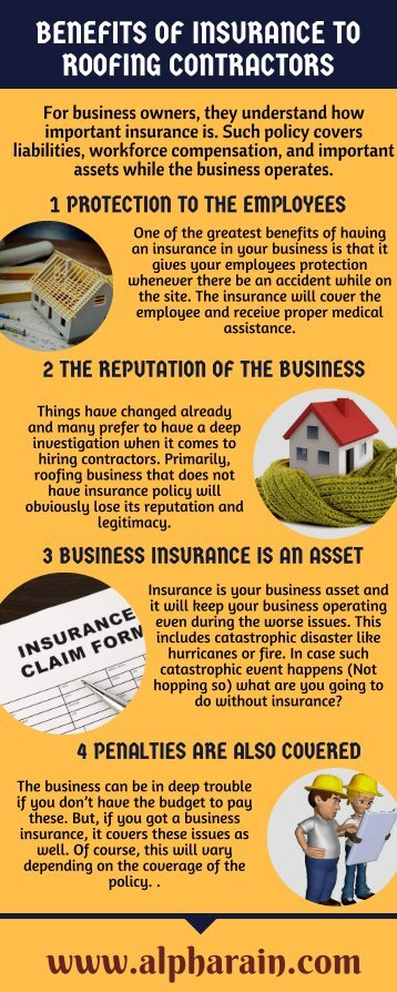 Benefits of Insurance to Roofing contractors