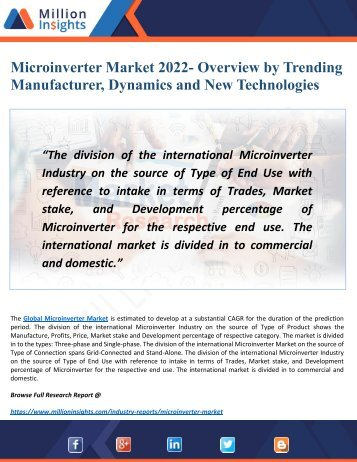 Microinverter Market 2022 In-Depth Analysis by Applications