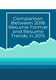 Comparison Between 2018 Resume Format and Resume Trends in 2015