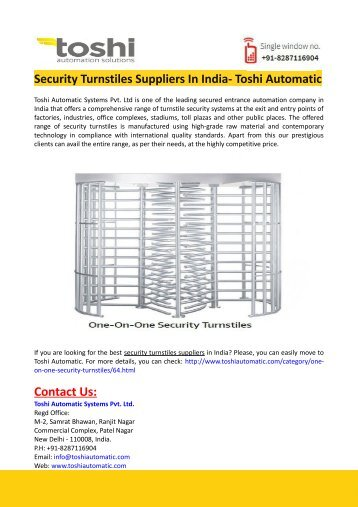 Security Turnstiles Suppliers In India- Toshi Automatic