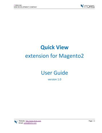 Magento 2 Quick View Extension by ITORIS INC