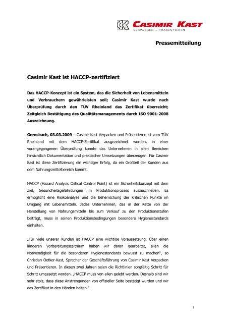 Haccp Zertifiziert Casimir Kast Gmbh