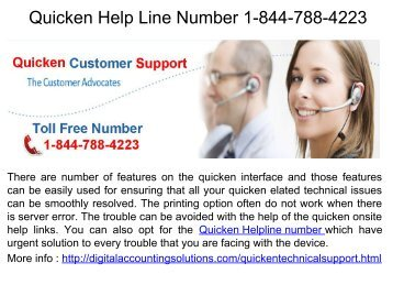 Quicken Installation  Phone Number 1-844-788-4223