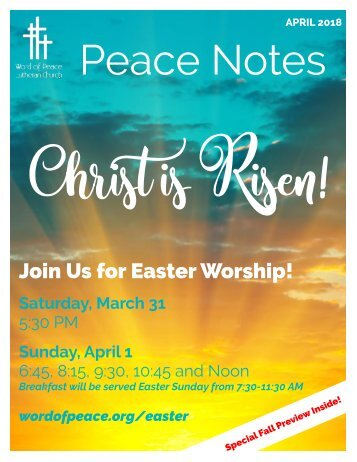 Peace Notes April 2018-Word of Peace Lutheran Church