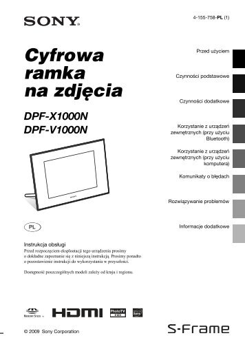 Sony DPF-V1000N - DPF-V1000N Mode d'emploi Polonais