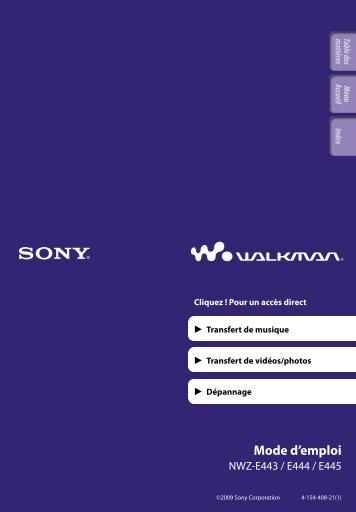 Sony NWZ-E445 - NWZ-E445 Consignes d'utilisation