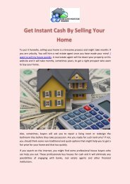 Get Instant Cash By Selling Your Home