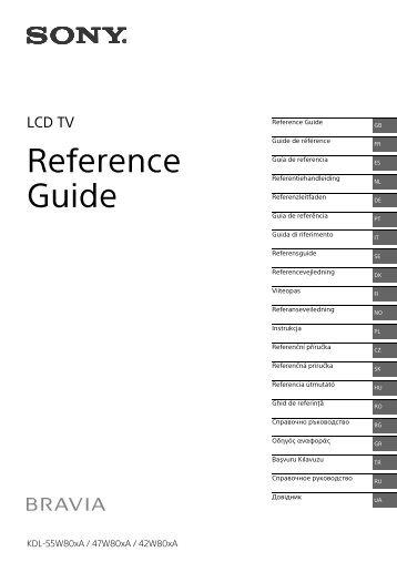 Sony KDL-42W805A - KDL-42W805A Guida di riferimento Russo