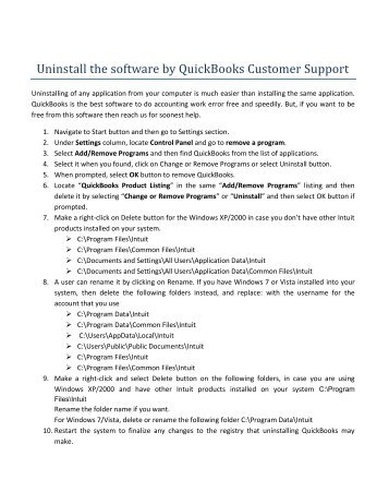 Uninstall the software by QuickBooks Customer Support