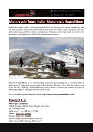 Motorcycle Tours India- Motorcycle Expeditions