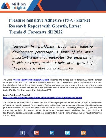 Pressure Sensitive Adhesive (PSA) Market 2022: New Developments, Opportunities, Trends, Industry Players