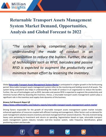 Returnable Transport Assets Management System Market : Global Industry Analysis, Size, Share, Growth, Trends, and Forecasts 2017-2022