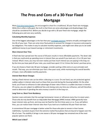 The Pros and Cons of a 30-Year Fixed Mortgage