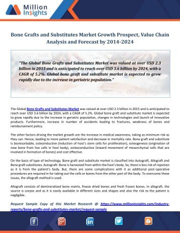 Bone Grafts And Substitutes Market Growth Prospect, Value Chain Analysis and Forecast by 2014-2024
