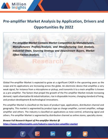Pre-amplifier Market Analysis by Application, Drivers and Opportunities By 2022