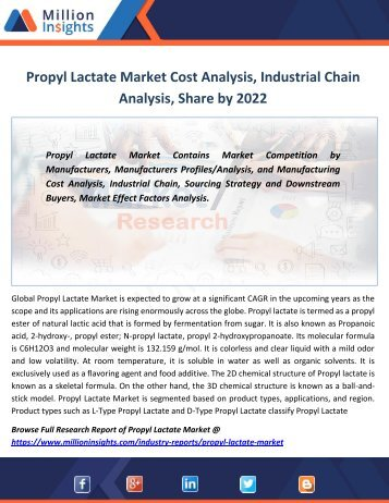 Propyl Lactate Market Cost Analysis, Industrial Chain Analysis, Share by 2022