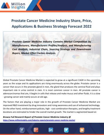 Prostate Cancer Medicine Industry Share, Price, Applications & Business Strategy Forecast 2022