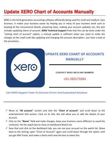 Update XERO Chart of Accounts Manually
