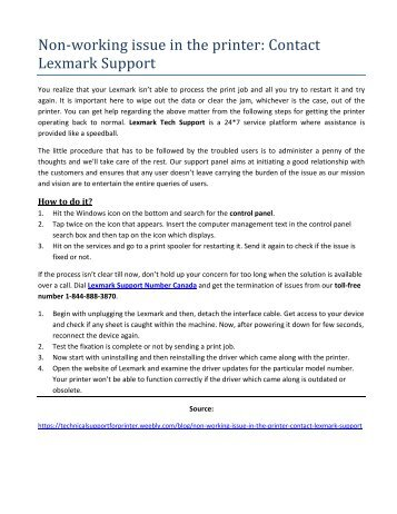 Non-working issue in the printer Contact Lexmark Support