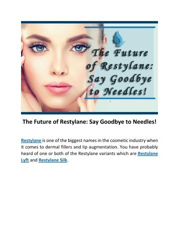 The Future Of Restylane