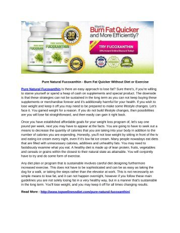 Pure Natural Fucoxanthin - Burn Fat Quicker Without Diet or Exercise