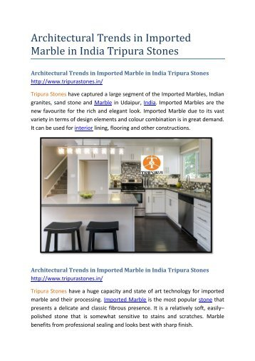 Architectural Trends in Imported Marble in India Tripura Stones