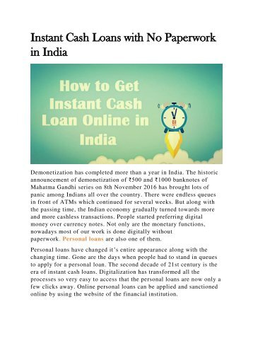 Instant Cash Loans with No Paperwork in India