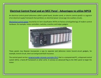 Electrical Control Panel and an MCC Panel - Advantages to utilize MPCB