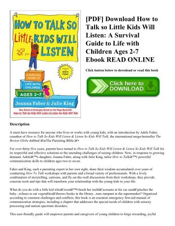 [PDF] Download How to Talk so Little Kids Will Listen: A Survival Guide to Life with Children Ages 2-7 Ebook READ ONLINE