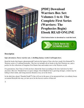 [PDF] Download Warriors Box Set: Volumes 1 to 6: The Complete First Series (Warriors: The Prophecies Begin) Ebook READ ONLINE