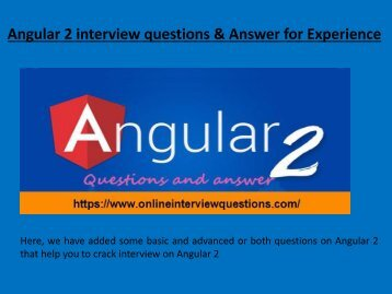 Angular 2 Interview Questions and Answer for Experience