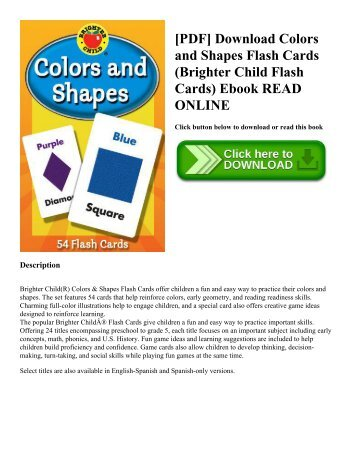 [PDF] Download Colors and Shapes Flash Cards (Brighter Child Flash Cards) Ebook READ ONLINE