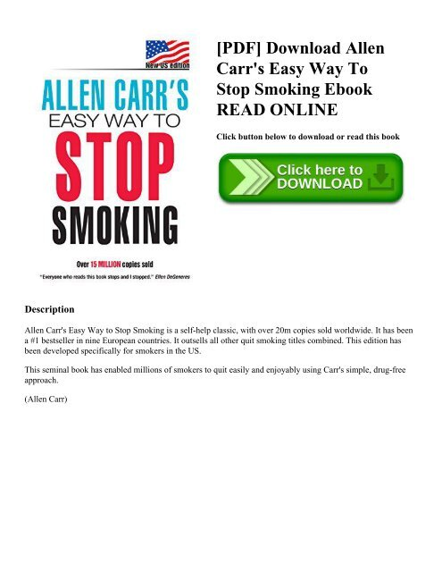 Allen Carrs Easyway To Stop Smoking Ebook
