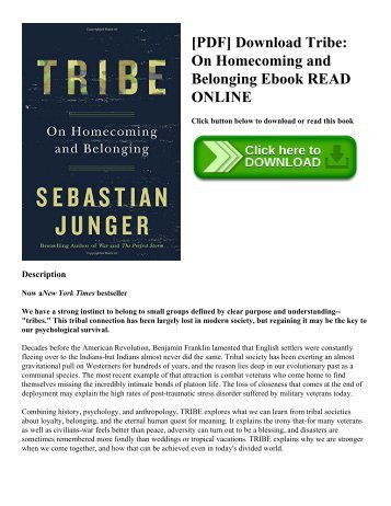 [PDF] Download Tribe: On Homecoming and Belonging Ebook READ ONLINE