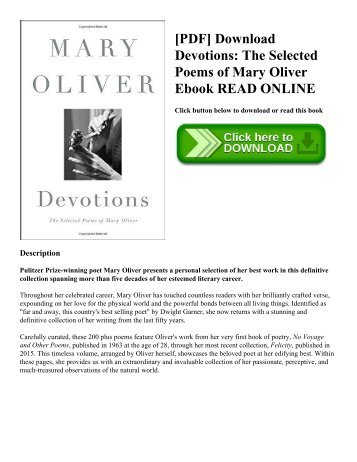 [PDF] Download Devotions: The Selected Poems of Mary Oliver Ebook READ ONLINE