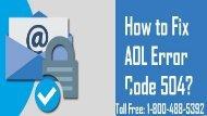 1-800-488-5392 Fix AOL Error Code 504